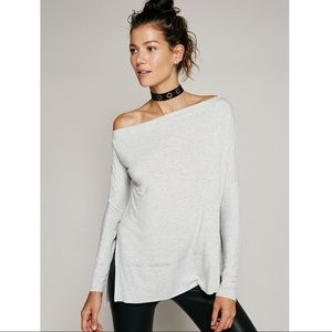 Free People Light Grey Luna Off Shoulder Top Small